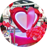 Dekoracja serce na event walentynkowy