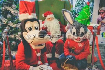 Świąteczny Goofy i Królik Bugs podczas mikołajkowego spotkania