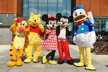 Chodzące żywe maskotki Tygrysek, Kubuś, Myszka Minnie, Miki, Kaczor Donald