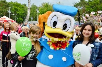 Kaczor Donald, żywa maskotka na imprezie plenerowej