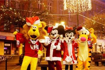 Świąteczna żywa maskotka Lew Alex, Myszka Miki, Minnie, Tygrysek