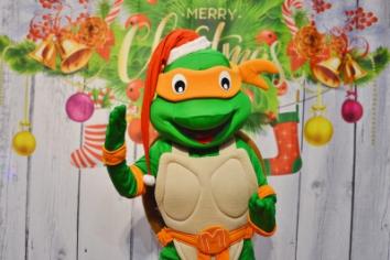 Żółw Ninja, świąteczna żywa maskotka do wynajęcia