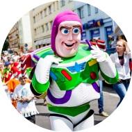 Buzz Astral, żywa maskotka na imprezy, eventy, parady