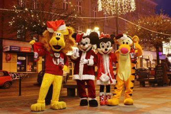 Świąteczne żywe maskotki do wynajęcia, Lew Alex, Myszka Miki, Tygrysek