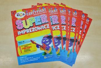 certyfikat super imprezowicz dla dzieci